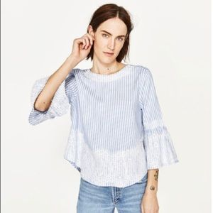 Zara Blue/White Striped Blouse with Lace Detail